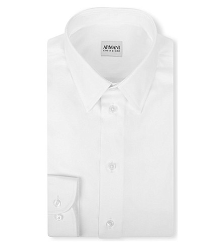 EMPORIO ARMANI Modern-fit cotton-poplin single-cuff shirt (White