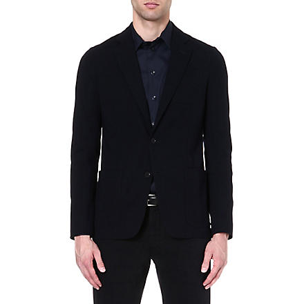 ARMANI COLLEZIONI Single-breasted stretch-crepe blazer (Navy