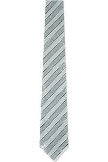 ARMANI Striped silk-linen tie