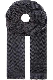 ARMANI COLLEZIONI Herringbone wool scarf