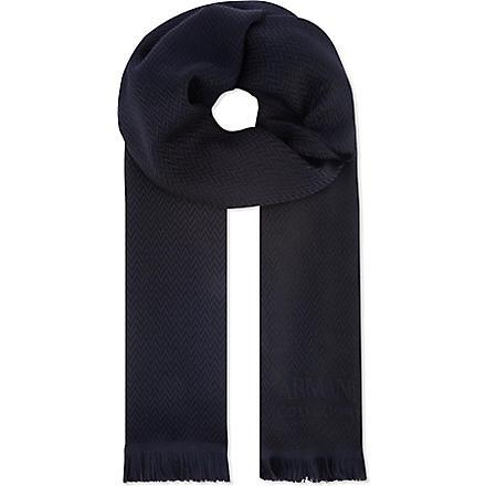 ARMANI COLLEZIONI Herringbone wool scarf (Navy