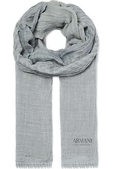 ARMANI Frayed cotton scarf