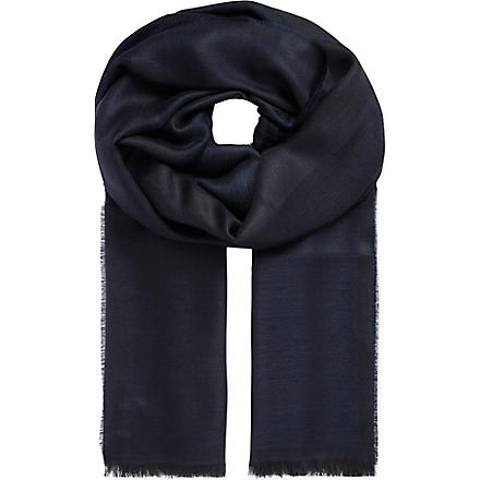 ARMANI COLLEZIONI Bordered modal-blend scarf (Navy