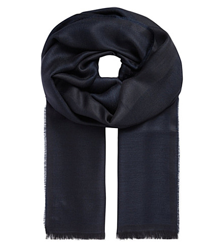 ARMANI COLLEZIONI Bordered modal-blend scarf (Navy