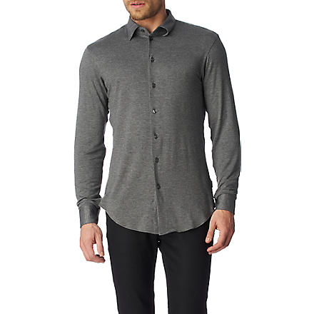 ARMANI Jersey slim fit single cuff shirt (Grey