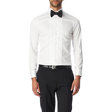 ARMANI Pleated-bib modern fit single cuff shirt (White