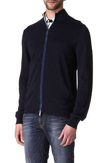 ARMANI Contrast zip-up cardigan