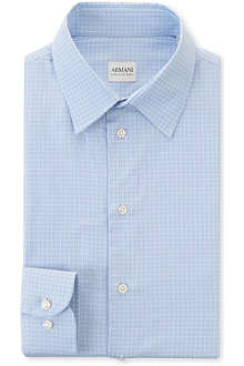 ARMANI Checked modern fit single cuff shirt