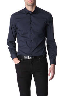 ARMANI Grosgrain-trim slim fit single cuff shirt