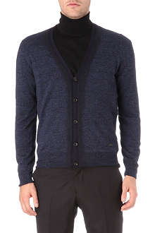 ARMANI Mixed trim placket cardigan