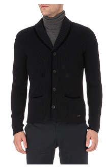 ARMANI Velvet trim ribbed cardigan