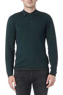 ARMANI COLLEZIONI Knitted long-sleeve polo shirt