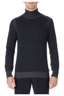 ARMANI Ribbed wool roll-neck jumper