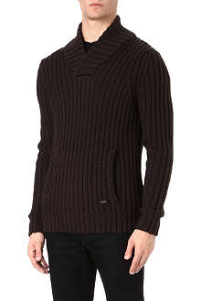 ARMANI Big-rib shawl-neck jumper