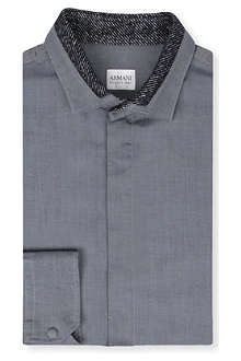 ARMANI Modern small-print point shirt