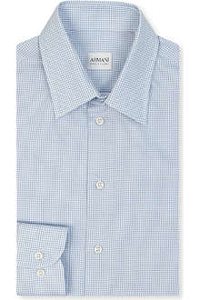 ARMANI Checked single cuff shirt