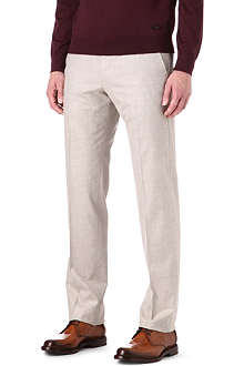 ARMANI Flannel regular-fit mid-rise trousers