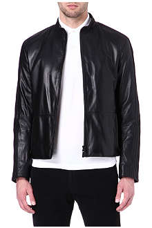ARMANI Piped leather jacket