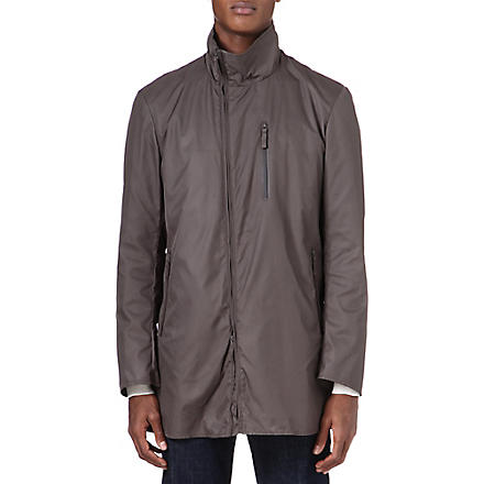 ARMANI Asymmetric zip raincoat (Brown