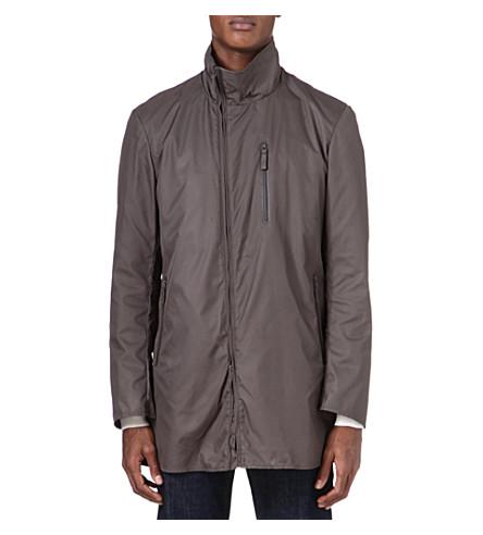 ARMANI Asymmetric zip raincoat (Brown