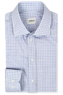 ARMANI Square-print slim-fit shirt