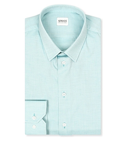 ARMANI Modern-fit woven shirt (Mint