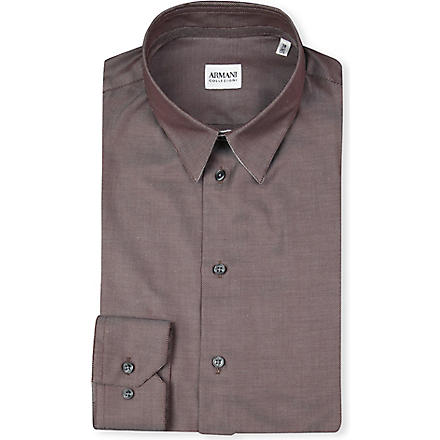 ARMANI Slim-fit plain shirt (Brown