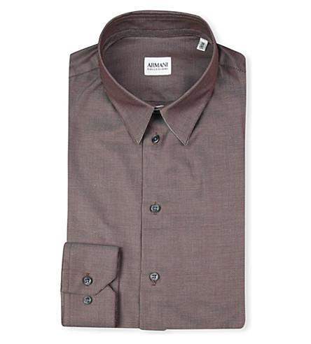 ARMANI Slim-fit plain shirt (Brown
