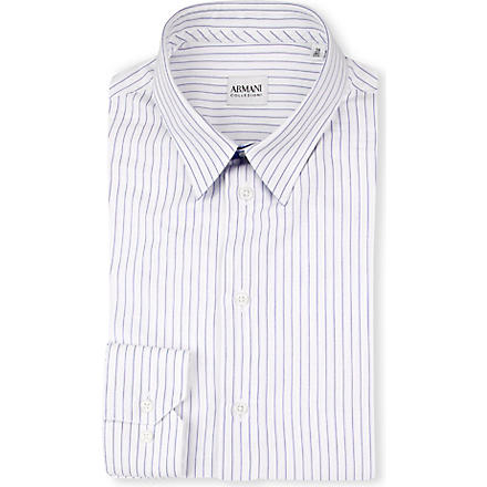 ARMANI Slim-fit striped shirt (White/blue