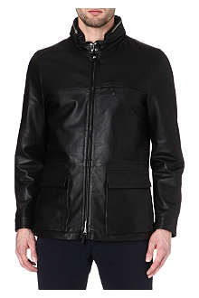 ARMANI Concealed-hood leather jacket