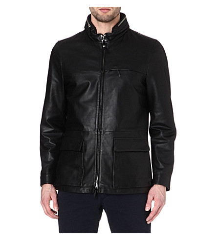 ARMANI Concealed-hood leather jacket (Black