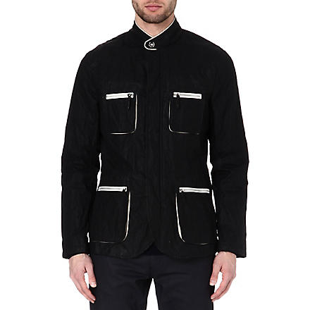 ARMANI Leather-trim jacket (Black
