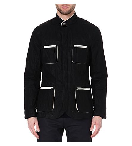 ARMANI Leather-trim jacket (Black