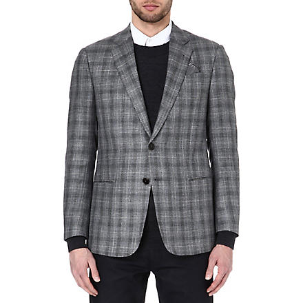 ARMANI Single-breasted checked blazer (Grey