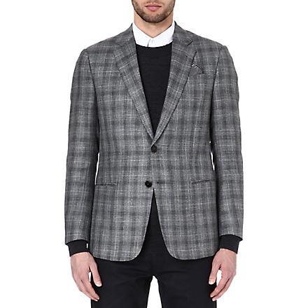 ARMANI Single-breasted checked blazer (Grey