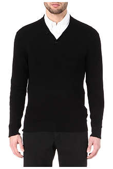 ARMANI Shawl collar knitted jumper