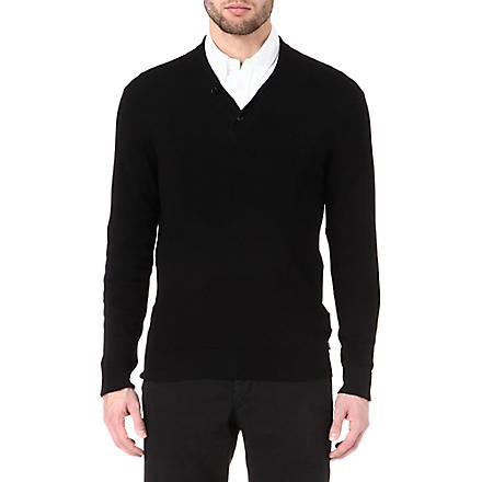 ARMANI Shawl collar knitted jumper (Black