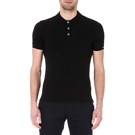 ARMANI Stretch-pique polo shirt (Black