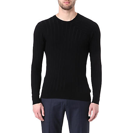 ARMANI Asymmetric-detail ribbed jumper (Black