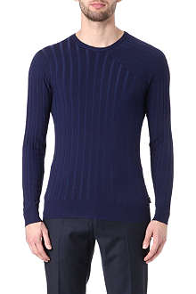 ARMANI Asymmetric-detail ribbed jumper