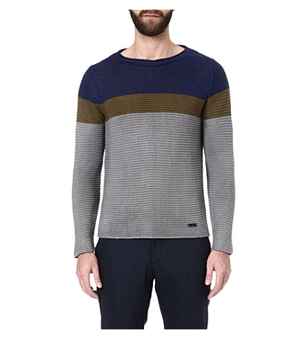 ARMANI Striped jumper (Navy/brown