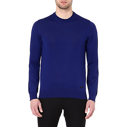 ARMANI Crew-neck wool jumper (Royal