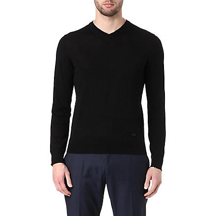 ARMANI V-neck wool jumper (Black