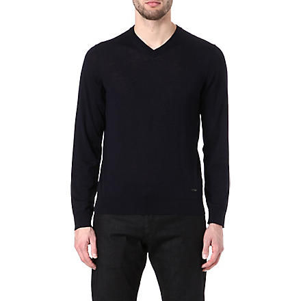 ARMANI V-neck wool jumper (Navy