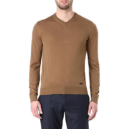 ARMANI V-neck wool jumper (Tobacco