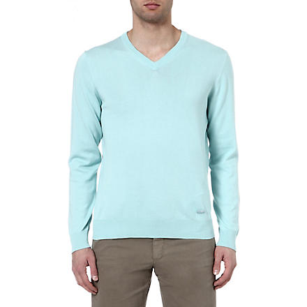 ARMANI V-neck knitted jumper (Mint