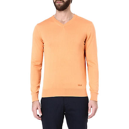 ARMANI V-neck knitted jumper (Orange