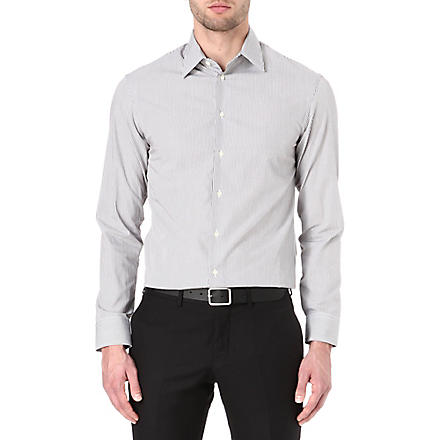 ARMANI Modern-fit fine-stripe shirt (Brown