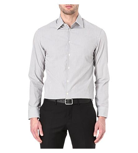 ARMANI Modern-fit fine-stripe shirt (Brown