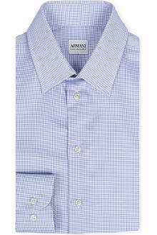 ARMANI Micro checked stretch-cotton shirt